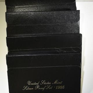 1995- 1998 SILVER PROOF SETS- ORIG. PACKAGING