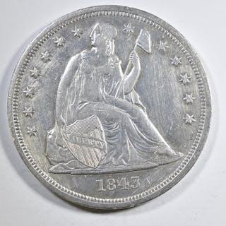 1843 SEATED LIBERTY DOLLAR  AU