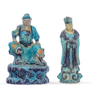 2 sculptures en céramique à glaçure Fahua, Chine, dynastie Ming, h.