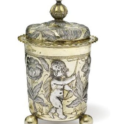 A German Baroque parcel-gilt silver covered beaker