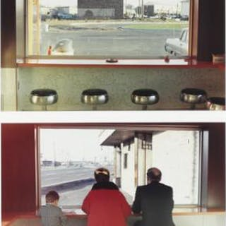 "Dan Graham: ""Top and bottom; Views inside of New Highway Restaurant"