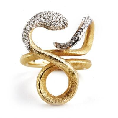 """Ole Lynggaard: A """"Snake"""" diamond ring set with numerous..."""