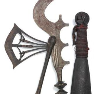 Axe, sword and bell of patinated iron and wood mounted with rope and nail