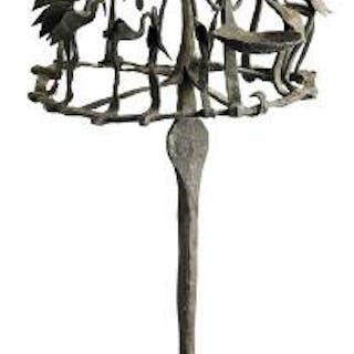 Osanyin staff of patinated iron decorated with birds. Yoruba, Nigeria.