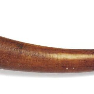 Trumpet of carved patinated ivory. D. R. Congo. Early 20th century. L. 55 cm.