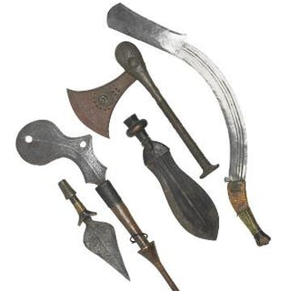 A collection of edged weapons, D. R. Congo. L. 27–62 cm. (5)