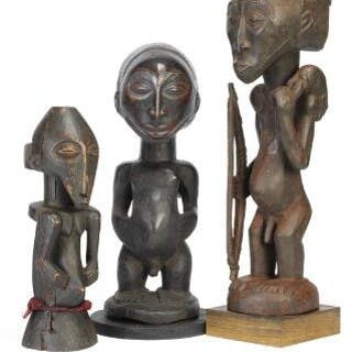 Three ancestor figures of carved patinated wood. Hemba style. H. 39–65 cm. (3)