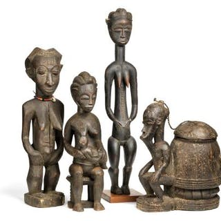 Three ancestor figures and a container of carved patinated wood