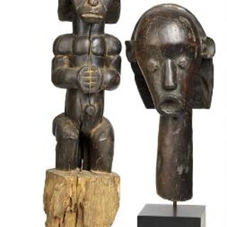 Guardian figure and head of carved patinated wood
