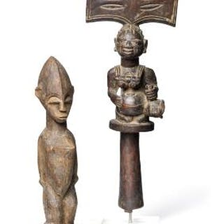 Shango staff of carved patinated wood and ancestor figure