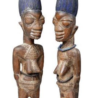 Ere Ebeji twin pair of carved patinated wood