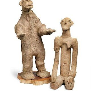Two terracotta figures. Bangkoni style. H. 37 and 46 cm. (2)