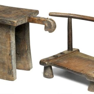 Low chair and stool with handle carved with face of patinated wood