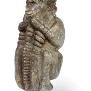 Large figure of carved stone, Kissi style. H. excl. base app. 53 cm.