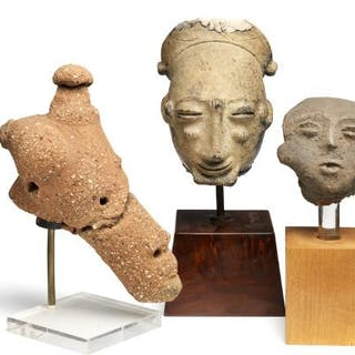 Three terracotta heads. Nok and Akhan style. H. 9–24 cm. (3)