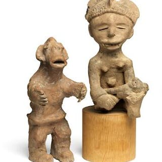 Sitting female figure and sitting figure of terracotta