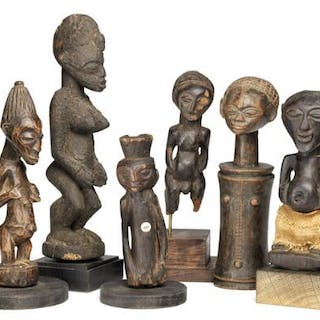 A collection of six small ancestor figures of carved patinated wood