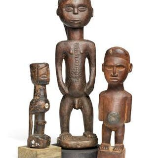 A collection of three small ancestor figures of carved patinated wood
