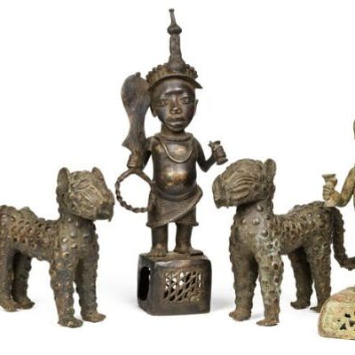 Two leopards and two altar figures of patinated bronze