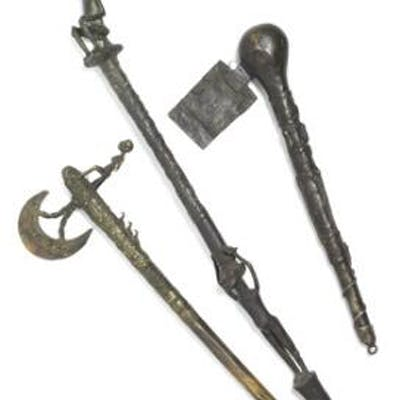 Staff and two ceremonial axes of patinated brass and bronze