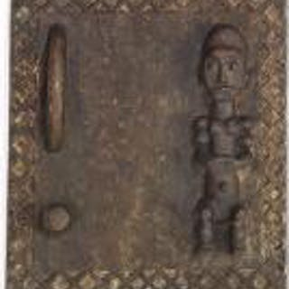 Large and small door of carved patinated wood