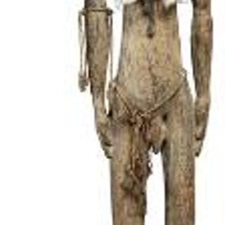 Ancestor figure of carved patinated wood with human hair