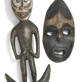 Hook in the shape of ancestor figure of carved patinated...