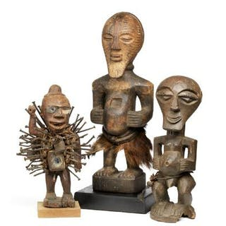 Three figures of carved patinated wood