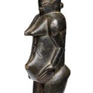 Baulé figure of carved patinated wood