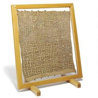 Kuba weaving, framed. Frame dimensions 97×88 cm.