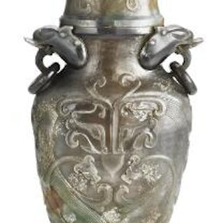 A Chinese covered vase of greyish jade