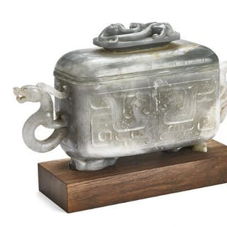 A Chinese four-sided covered vase of greyish jade on wooden stand