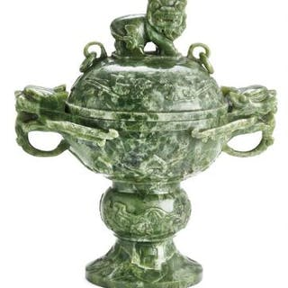Chinese covered bowl of artificial green jade carved with finial