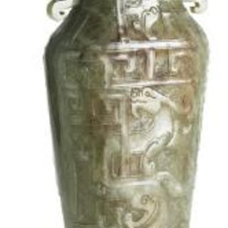 A Chinese vase of greenish jade