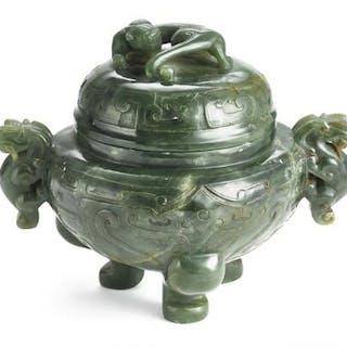 A Chinese tripod censer of greenish jade