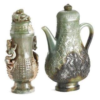 A Chinese jug and covered vase of greenish jade