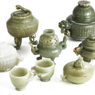 A group of seven of Chinese censers and double censer of green and whitish jade