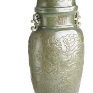 A Chinese covered vase of green jade