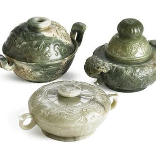 Three Chinese covered vases of green jade