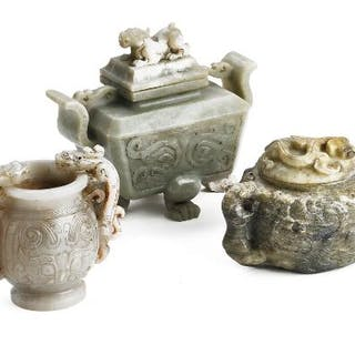 Two Chinese lidded bowls and small vase of grey and brownish jade