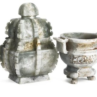 A Chinese lidded jar and censer of grey jade carved in relief