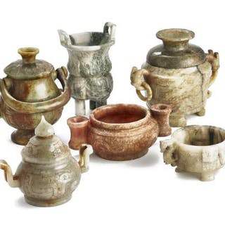 Six Chinese censers and covered vases of brown