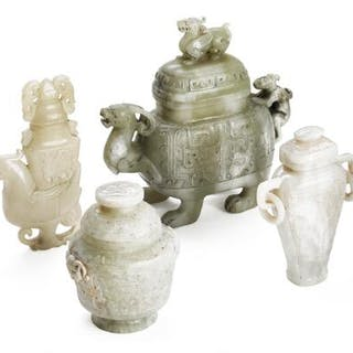 Four Chinese covered vases of greenish and whitish jade