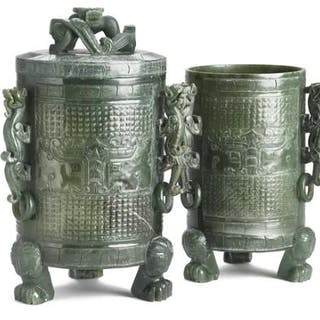 Two Chinese vases of green jade in archaic style