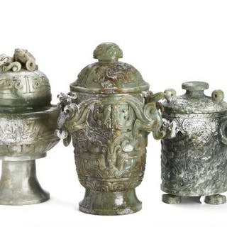 Three Chinese covered vases of green jade carved in...