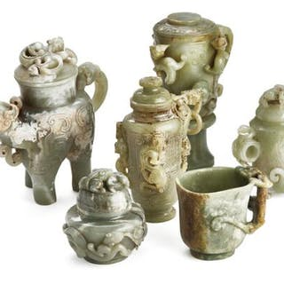 A group of six Chinese covered vases and cup of greenish jade