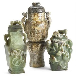 Three Chinese vases of green and green and brownish jade