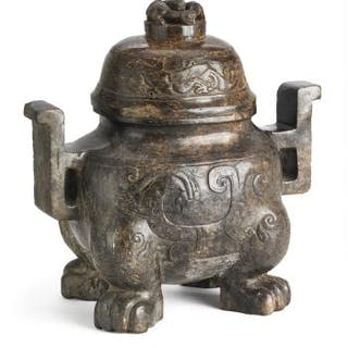 A Chinese censer of brownish jade. Weight 5597 g. H. 25 cm.