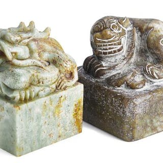 Two Chinese seals of green and brownish jade