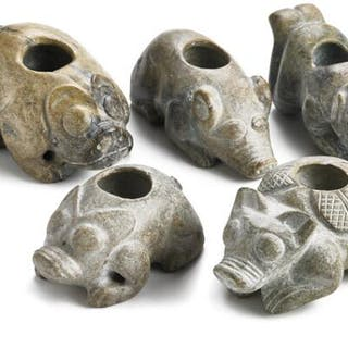 Five Chinese brush washers of jade carved in the shape of fabulous creatures